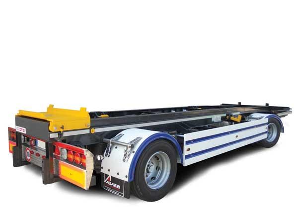 Rimorchio PTT 200q Pneumatico allestito con carrello incarramento e scarramento container, collaudo ADR